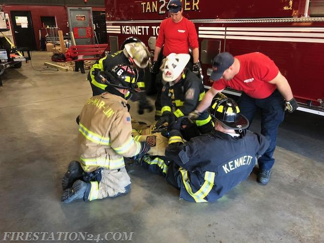 Firefighter CPR drill